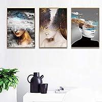 キャンバス壁アート風景女性抽象プリントポスター画像装飾絵画リビングルーム家の装飾60x90cmx3フレームレス