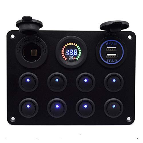 ALEOHALTER Panel de interruptor basculante de 8 bandas con doble ranura de carga USB, panel de interruptor de pantalla digital para vehículo, yate, barco, caravana, camión