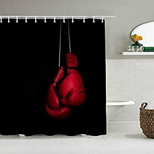None brand Cortina De Ducha Conjunto con Ganchos Knockout Fighting Vintage Uppercut...