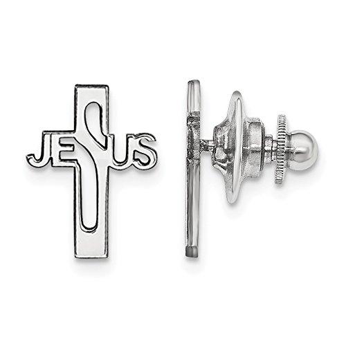 Sterling Silver Rhodium-plated Jesus Cross Tie Tac