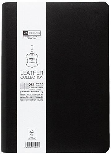 Miquelrius – Cuaderno flexible en piel, tamaño 4º, Con índice alfabético, 300 hojas, Cuadrícula 5 mm, con goma, color…