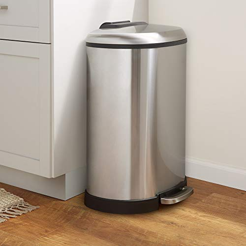 13.2 Gallon Soft-Close Trash Can with Foot Pedal - D-Shaped, Stainless Steel