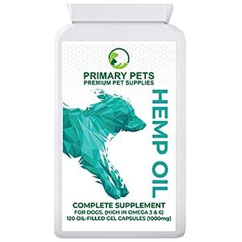 Primary Pets Premium Pet Supplies Huile de Chanvre pour Chiens. 120 gélules faciles à Utiliser. Idéal pour Calmer Les Animaux de Compagnie, Les articulations et la santé, Les vitamines et Les oméga.