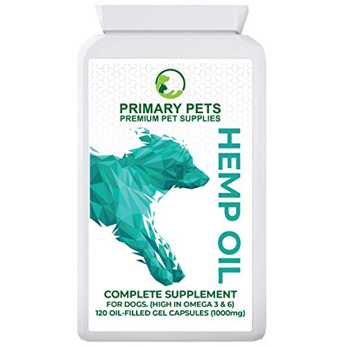 Primary Pets Premium Pet Supplies Hemp Seed Oil for Dogs. Pack of 120 (1000mg). All round supplement with Vitamins and Omega