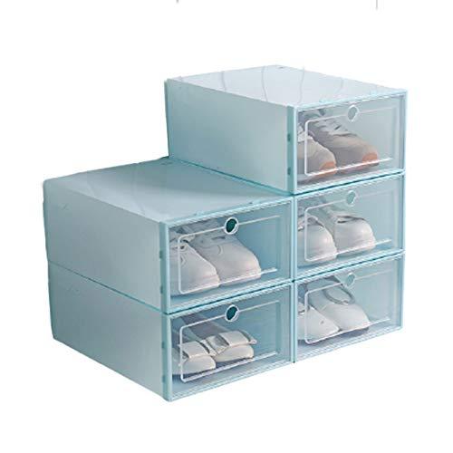 geshiglobal Organizador de cajones de ropa transparente apilable a prueba de polvo Flip tipo zapatos contenedor de almacenamiento decoración del hogar - azul claro mujeres