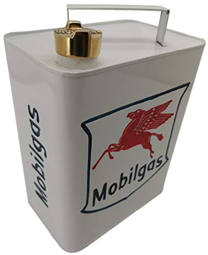 Blackbrook Interiors Vintage style Aluminium Oil/Jerry can - Mobilgas - Display can ideal for display in garages sheds living rooms or man caves