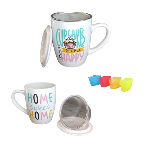 Pack» Juego De 2 Tazas De Té Con Filtro y Tapa 350ml Con Asa, 2 Mugs de Porcelana con infusor de acero inoxidable, Para Infusiones Café Desayuno + Posa Bolsitas de Té(Cupcake + Home)