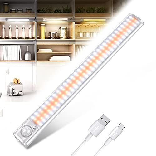 Luce per Armadio, 120 LED Luce Sensore Movimento Armadio, Luci Cucina Lampada Notturna Wireless, LED Magnetica USB Ricaricabile Luce, armadio, cantina, corridoio(regolabili in 3 colori)