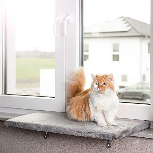 CanadianCat Company ® | Snuggly Place | Large | Hellgrau | gepolsterte Liege- Aussichtsplattform | ca. 75x35 cm