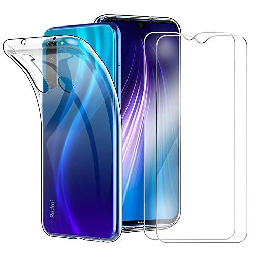 HTDELEC für Xiaomi Redmi Note 8 Hülle +[2 Stück] Panzerglas Schutzfolie,Transparent [Anti-Gelb] Dünn Handyhülle Klare Weiche TPU Silikon Schutzhülle Tasche HD Panzerglasfolie Glas -Transparent