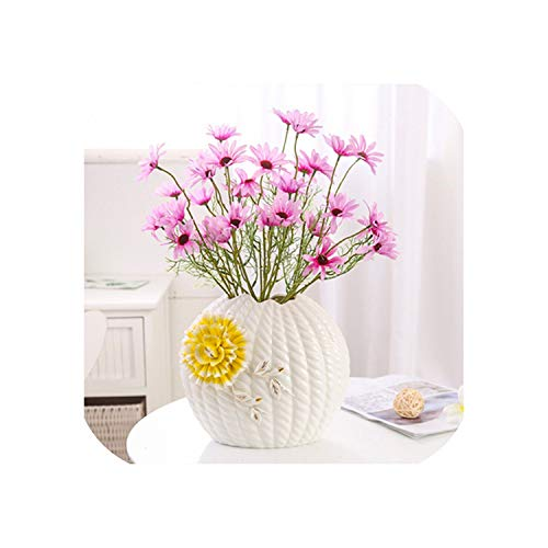 dudifeng europäische Keramikvase, kreativ, einfache und Moderne Form, Tisch-Vasen, handgefertigt, für Hochzeit, Heimdekoration, Basteln, 06 M Vase und Blume, Einheitsgröße