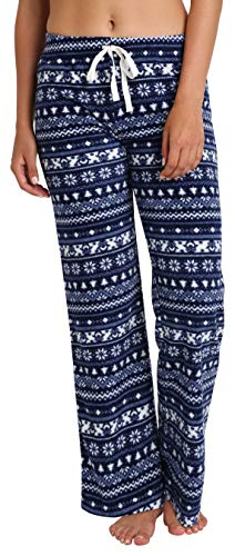 Blis Mujer Pantalones de Pijama de vellón difuso para Adultos con cordón de Ajuste Pingüino Fairisle 2X