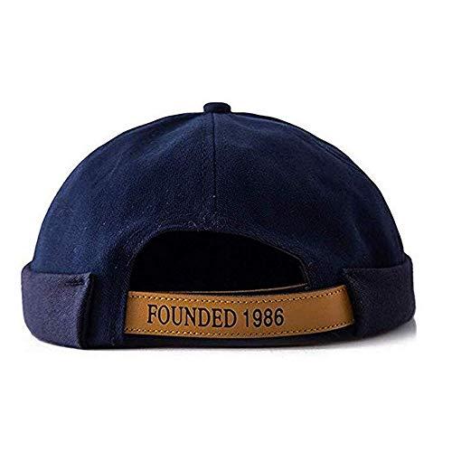 Croogo Unisex Visor-Less Cap Cotton Denim Brimless Docker Cap Rolled Cuff Harbour Hat Summer Baseball Cap, Drak Blue, 21.3-23.6inch