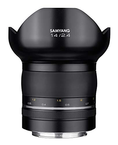Samyang XP 14/2,4 Objektiv DSLR Canon EF Premium manueller Fokus automatischer Blendenring Fotoobjektiv (abnehmbare Sonnenblende) Weitwinkelobjektiv schwarz