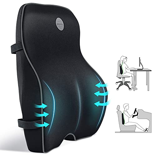 JEEDOVIA Lumbar Support Pillow, Pure Memory Foam Back Cushion Pillow for Office Chair, Car Seat, Gaming Chair and Wheelchair, Ergonomic Orthopedic Backrest for Lower Back Pain Relief