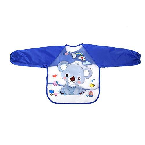 Infant kleine kinderen baby slabbetje EVA waterdicht lange mouwen slabbetje over kleding cartoon dierenprint voering schort vlekwerend kit met verstelbare riem voor baby jongens meisjes # 1.