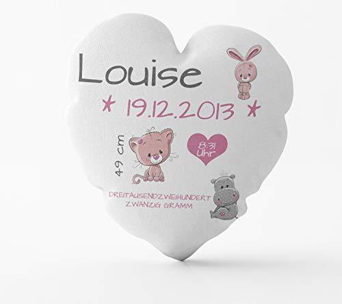True Statements Herz-Kissen als Geschenk zur Geburt - Personalisiertes Kissen für Mädchen oder Jungs (Name, Größe, Gewicht, Datum) - inklusive Füllung - ideales Babygeschenk (Mädchen)
