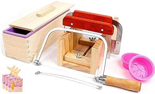 Juego de Herramientas para Cortar Jabón Ajustable,Handmade Soap DIY Tools, Molde de jabón rectangular con tapa de silicona,Cortador de jabón recto Acero Inoxidable