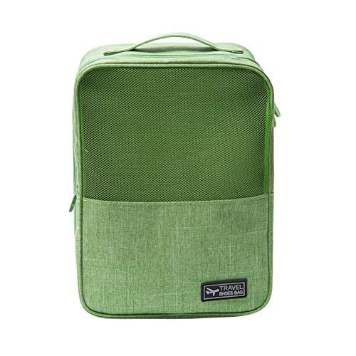 Portable del recorrido de la manija zapatos impermeables de asas de la bolsa de malla de zapatos Organizador Oxford tela del zapato del almacenaje del bolso de la cremallera zapatos y bolsa - verde