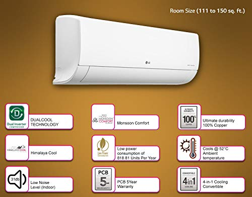 LG 1.5 Ton 5 Star Inverter Split AC (Copper, 4-in-1 Convertible Cooling, HD Filter with Anti-Virus Protection, 2021 Model, MS-Q18ENZA, White)