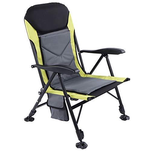 AYNEFY Silla de camping plegable, silla reclinable para pesca, viajes en caravana, pesca, playa y barbacoas, sillón de pesca hasta 210 kg, con respaldo ajustable de 0 a 170 °