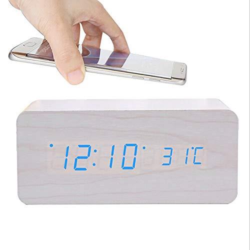 ALLOMN Despertador, Reloj de Control de Voz de Escritorio Digital de Madera, con Carga Inalámbrica, Brillo de 3 Niveles, Pantalla de Hora/Fecha/Humedad/Temperatura 3 Alarmas (Blanco)