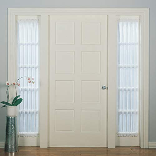 """No. 918 Emily Sheer Voile Single Curtain Door Sidelight Panel, 28"""" x 72"""", White"""