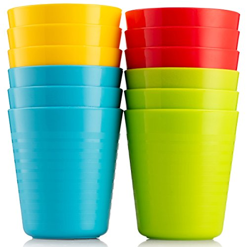 Best Price Plaskidy Kids Cups - Set of 12 Kids Plastic Cups - 8 oz Kids Drinking Cups -Plastic Cups ...