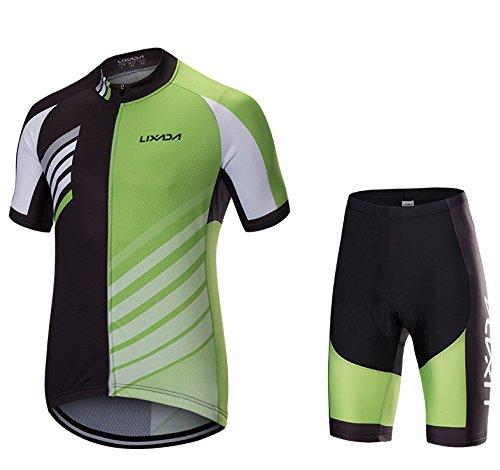 Lixada Hombres Transpirable Rápido Seco Manga Corta Camiseta Gel Acolchado Shorts Ciclismo Ropa Set
