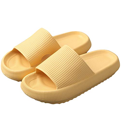 JiYanTang Pillow Slides Slippers,Ultra-Soft Slippers Extra Soft Cloud Shoes Anti-Slip,Unisex Dusche Badeschuhe Hausschuhe,Bad Pool Gym House Massage Sandalen FüR Innen Und DraußEn 40-41 Yellow