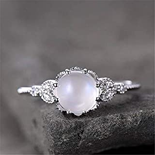 Kuyiuif 925 Sterling Silver Moonstone Ring Fire Opal Diamond Ring Transparent Elegant Moonstone Luxury Engagement Cocktail...