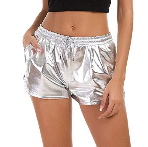 KUDICO Damen Shorts Sommer Shiny Tunnelzug Hotpants Metallic Locker Hohe Taille Yoga Sporthose Einfarbige Tasche Leder Pants Kurz Hosen Leggings(Silber#01,M)