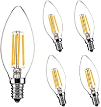 Wall Mounted E14 Screw Candle LED Light Bulbs 6W, 60W Incandescent Bulb Equivalent, Warm White 2700K, 600LM, Energy Saving...