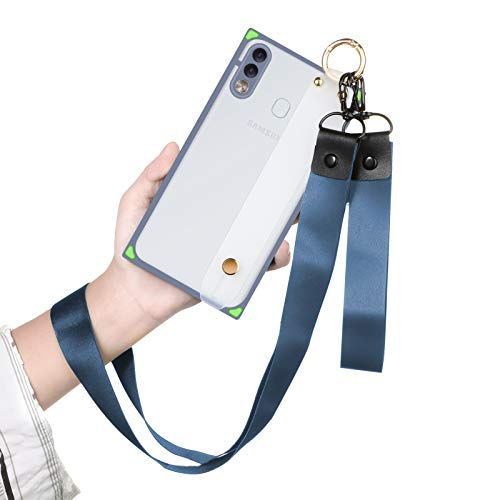 PERRKLD Samsung Galaxy A20 Case Square with Adjustable Wrist Strap and Lanyard Slim Translucent Matte Reinforced Corners Shockproof Phone Case for Samsung Galaxy A20/A30- Lavender Grey