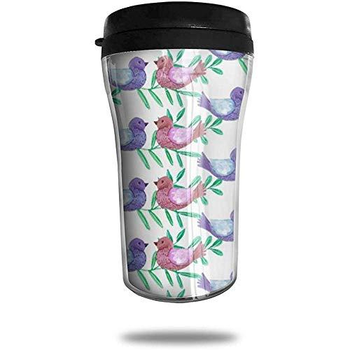 Seltene Vogelliebhaber im Baum Reisen Kaffeetasse 3D gedruckt tragbare Saugnapf, isolierte Teetasse Wasserflasche Becher zum Trinken mit Deckel 8,54 oz (250 ml)