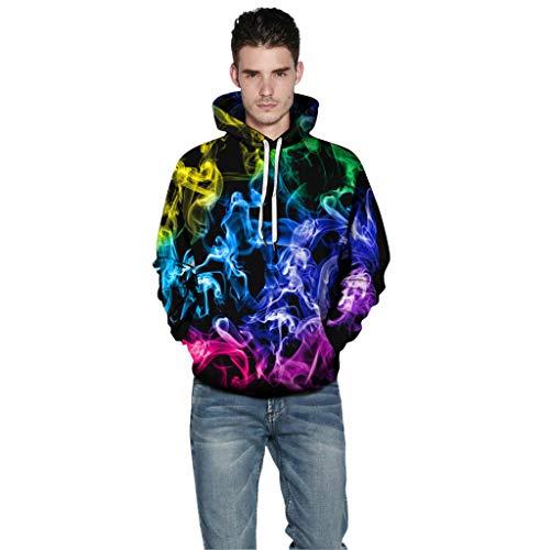 HEVÜY Herren Slim Fit Hoodie Long Sleeve Kapuzenpullover 3D Druck Muster Sweatshirt Pullover