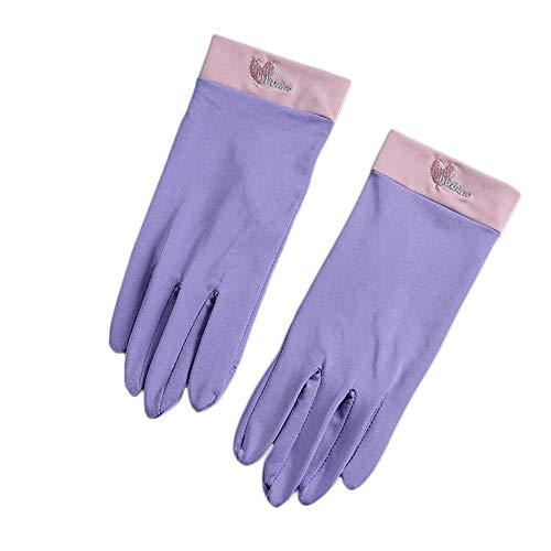 Rekaf Verano conduciendo guantes de protección solar femenina moda fluorescente verde ultrafino corto anti-ultravioleta montar al aire libre tranvía antideslizante hielo seda guante guantes guantes pa