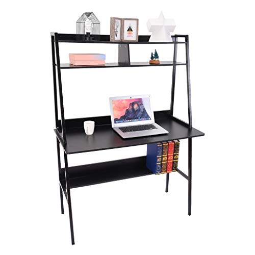 Simple Modern Design Study Computer Desk with 3 Layers Storage Shelf Smooth Surface Waterproof Easy Clean Trapezoid Frame Sturdy Easy Assemble Laptop Table Workstation for Home Office (A, Black)