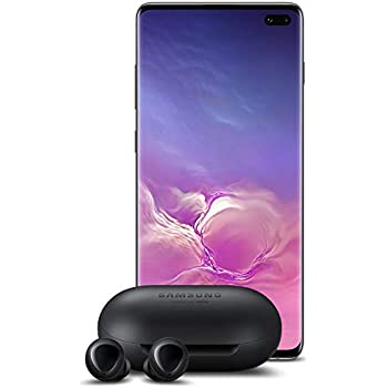 Samsung Galaxy S10+ Plus Factory Unlocked Phone with 1TB (U.S. Warranty), Ceramic Black w/Galaxy Buds
