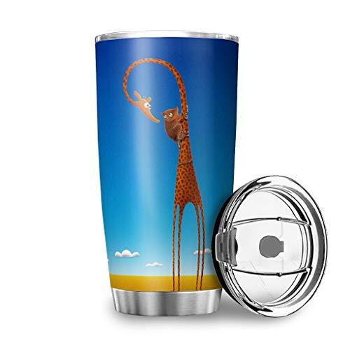 Generic Branded Animal Lemurs Jirafa taza de viaje coche taza de acero inoxidable vaso regalos para amigos para casa oficina escuela al aire libre blanco 600ml