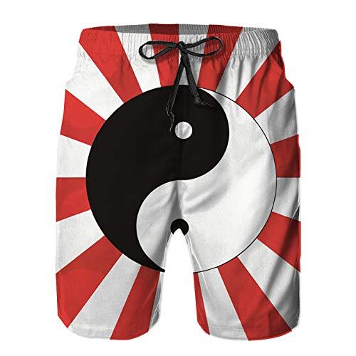 Hombres Playa Bañador Shorts,Ying Yang Decor Collection Círculo Yin Yang símbolo de la Flor,Traje de baño con Forro de Malla de Secado rápido M