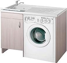 Negrari Eco Lavabo pour machine à laver à gauche, gauche, droite, couleur orme, porte battante, meuble en bois mélaminé, é...