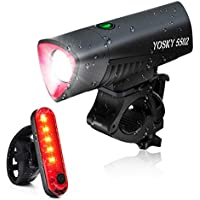 Yosky USB Rechargeable Waterproof LED Front Headlight and Rear Taillight