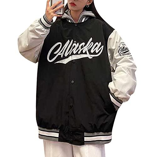 Yesgirl Chaqueta unisex para hombre y mujer, de College Cargo, parka de invierno, chaqueta de béisbol, chaqueta deportiva, unisex, patchwork, sudadera suelta, estilo retro, ropa de calle A negro. XL
