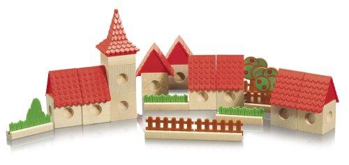 Eichhorn  100004992 - Holz Marbleblox-Stadt, Holzwürfel inklusiv Murmeln und Zubehör, 34-teilig