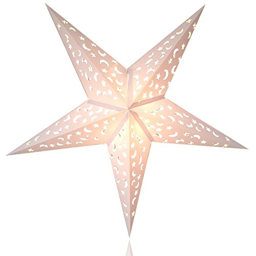 Happy Sales HSSL-FMWHTA Frozen Moon Paper Star Lantern...