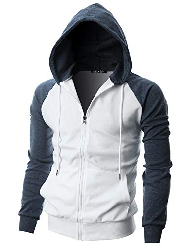 GIVON Mens Slim Fit Long Sleeve Lightweight Raglan Zip-up Hoodie with Kanga Pocket/DCF017-NAVYMELANGE-XL
