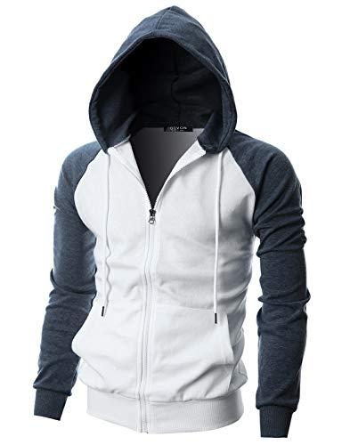 GIVON Mens Slim Fit Long Sleeve Lightweight Raglan Zip-up Hoodie with Kanga Pocket/DCF017-NAVYMELANGE-XL