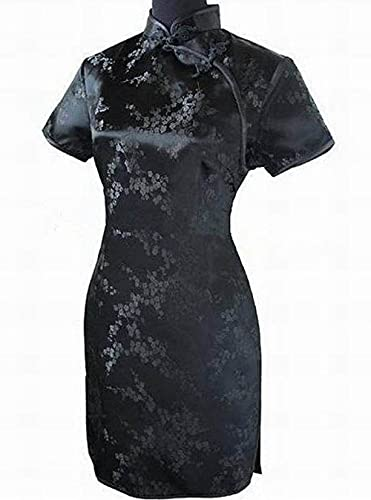CIDCIJN Vestito Cinese - Modern Lady Vintage Dragon&Phoenix Short Qipao Elegante Donna Cheongsam Mandarin Collar Sexy Mini Abito Cinese,Nero 2,XXL