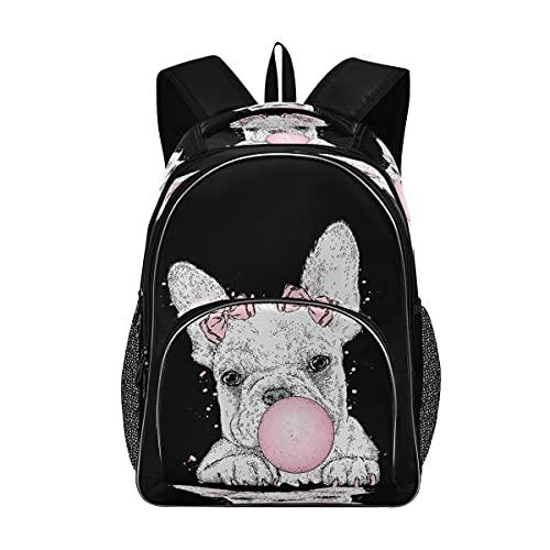 Backpack School Bookbag Cute French Bulldog Schoolbag with Water Bottle Pocket